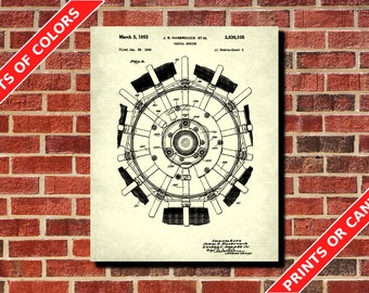 Aircraft Engine Patent Print Vintage Radial Engine Aircraft Engine Plane Engine Design Aircraft Engine Schematic Military Invention Engineer
