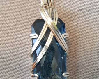 Blue Quartz Necklace Wire Wrapped Pendant Sterling Silver