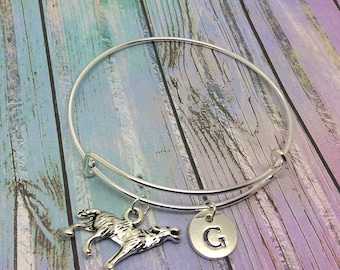 Wolf charm bracelet, Howling wolf pendant, Personalised Jewelry, wolf bangle, jewellery, Initial necklace, wolf charm, wolf cuff