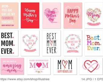 14 Mother's day cards, printable mothers day card, best mom ever, happy mothers day, printable card, DIY, 5x7, JPG, EPS, instant download