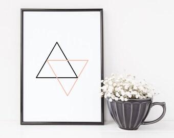 1010 // Pink and Black Triangles Geometric Design Digital Download JPEG and PDF
