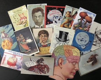 BB11A --  Lot of 15 VINTAGE Bizarre & Weird Die Cuts Card Stock / Sticker Paper 4 Scrapbooking Free Shipping