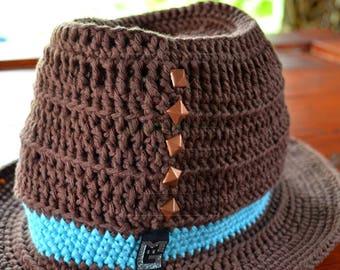 Crochet Hat studded cotton Braun Blau Orange cowboy hat