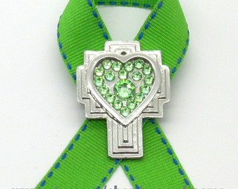 Lymphoma Cancer Awareness Pin, Cancer Awareness, Cross, Crystals, Handmade, Gift for Anyone, Angels, Jewelry