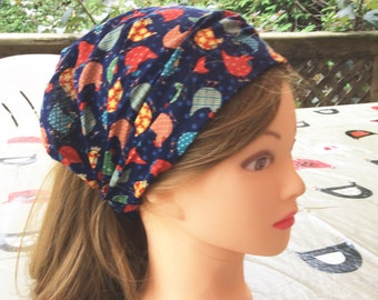Navy red hens child bandana, baby girl headscarf, toddler headband, girl wide headband, toddler hair wrap, baby bandana, pool sports danse