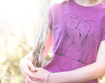 XS Elephant Organic recycled t-shirt, Plum, ethical, screen printed, sweatshop free