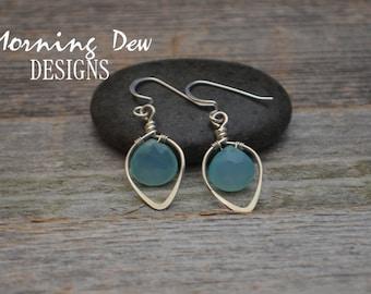 Sterling Silver & Blue Chalcedony Gemstone Briolette Teardrop Earrings