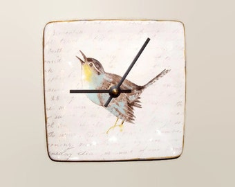 6 Inch Small Bird Wall Clock, Silent Ceramic Plate Clock, Unique Wall Decor, Kitchen Clock, Bird and Script Wall Clock - 2500