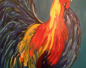 Rooster Print on Canvas