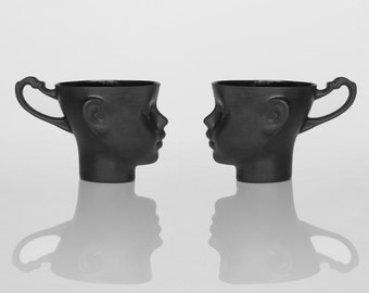 Porcelain doll head cups in black - whimsical set of two black ceramic artisan mugs, for coffee or tea