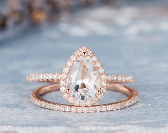 Pear Shaped Rose Gold Engagement Ring Set Bridal Set White Topaz Birthstone Ring Anniversary Promise Eternity Stacking Wedding Band Women