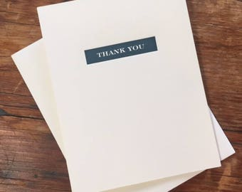 Letterpress Simple Thank You Note Card, Block Thank You Note, Basic Thank You Note, Clean Thank You Card