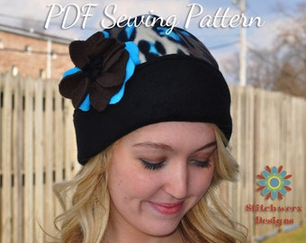 Fleece Hat Pattern, PDF Sewing Pattern, Womens Hat Pattern, Childs Hat Pattern, Knit Hat Pattern, Knit Hat Sewing, Easy Hat Pattern