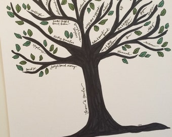 11x14 Custom Family Tree- Hand Drawn, Custom Color
