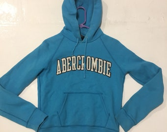Abercrombie & Fitch Turquoise Graphic Logo Hoodie Sweatshirt 90s Athleisure