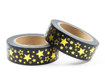 Black washi tape with gold stars
