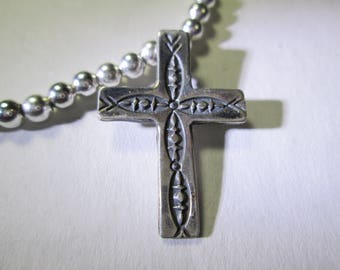cross... necklace with turquoise and silver beads, 22 inches