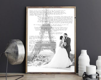 Christmas gift for husband, wedding vows poster, wedding vow art, first anniversary gift, wedding vows, unique Christmas gift