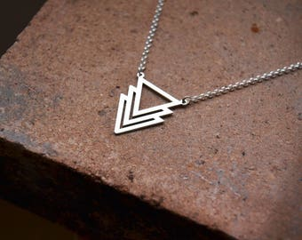 Silver Triangles Necklace, Silver Boho Necklace, Silver Ethnic Necklace, Silver Choker