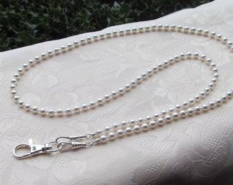 White Pearl ID Badge Lanyard Swarovski Pearl Beaded Lanyard Necklace ID Badge Holder