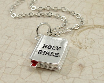 Holy Bible Charm - Silver Bible Charm for Necklace or Bracelet