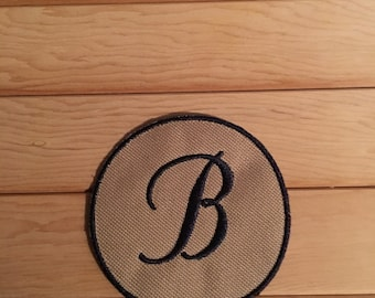 Navy and Tan Iron-On Monogram, Embroidery Letter B