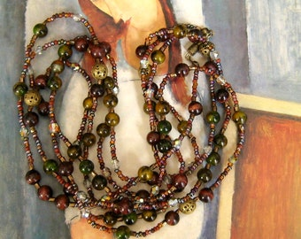 Vintage Inspired Long Wrap Necklace, Brown Green Bead Jewelry Boho Necklace, Extra Long Necklace, Gift Jewelry Beaded Long Necklace Layering