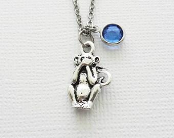 Speak No Evil Monkey Silver Necklace, Orangutan Necklace, BFF, Best Friend, Birthday Gift, Best Friend, Swarovski Channel Crystal Birthstone