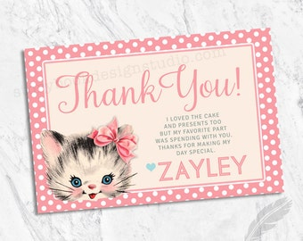 Vintage Kitten Birthday Party Thank You Cards, kids, birthday, kitty, digital file or printed