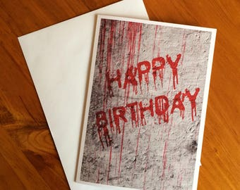 Happy Birthday card, horror themed greeting card, birthday card, horror card, greetings card, birthday gift, blood,  Nameless City Apparel