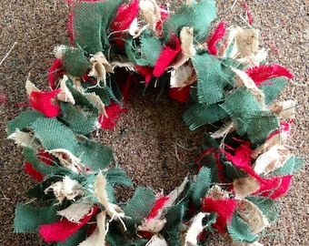 "12"" Burlap Christmas Tie Wreath"