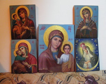 "Personal Patron Saint 18х24х2см -in order- orthodox icons  religious icons of hot colors directly on solid wood ( 7.0""x 9.6""x0.8"")"