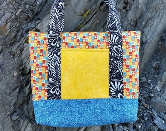 Flowers and shapes tote bag, multicolored tote, geometric shapes bag, medium sized purse, colorful shoulder bag,colorful handbag,simple tote