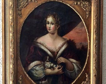 Sale Antique 17th C. Old Master English Oil Painting Portrait of Young Woman & Her Dog O/C European Art Framed