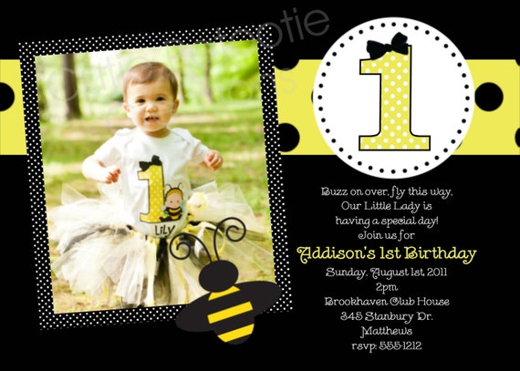 Bumble bee birthday party invitations printable or printed filmwisefo