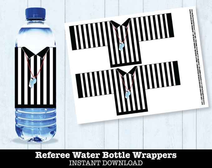 Football Referee Water Bottle Labels - Bowl Party, Super Football Drink Labels, Tailgating, Sports Party- INSTANT Download DIY Printable PDF