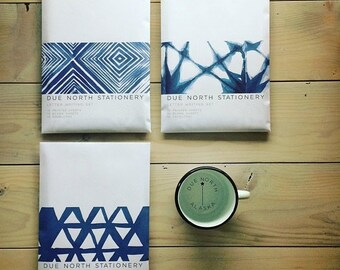 Due North Stationery Set, Letter Writing Set, Letter Writing Sheets, Set of 20, Stationery Gift Set, Made in Alaska, Indigo Blue