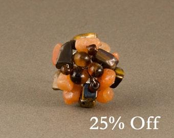 Chunky Gemstone Ring | Orange Quartz & Tiger's Eye Ring | Silver Gemstone Ring | Adjustable Cluster Ring | Statement Ring | 25% OFF SALE