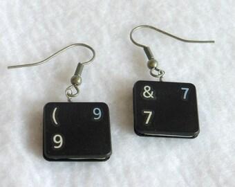 Steampunk Recycled Computer Key Earrings  SEB80