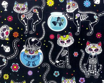 Kitty Sugar Skull Cotton Fabric