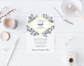 Editable and Printable Black and White Blue and Yellow Flower Wedding Invitation Template - Instant Download
