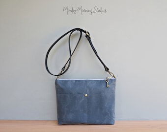 Waxed Canvas Shoulder Bag with Custom Length Leather Strap, Slate Grey Boho Canvas Purse, Plus Size Crossbody Purse, Handmade in the USA