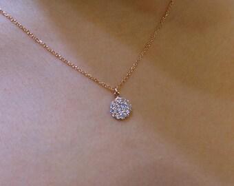 Diamond Necklace 14K Rose Gold / Rose Gold 14k Diamond Necklace 0.30ct VS2 G/Minimalist Necklace/ Bridal Gift/ Birthday Gift
