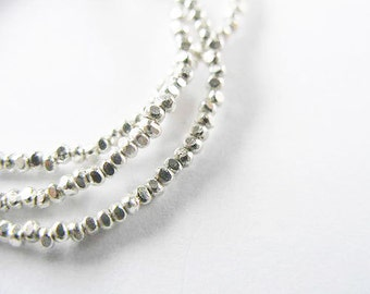 """280 of Karen Hill Tribe Silver Faceted Seed Beads 1.4 mm. 13 """" :ka3417"""