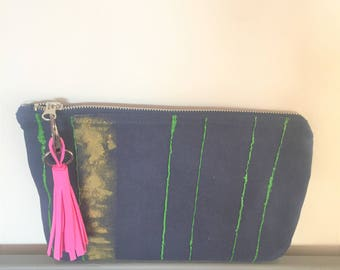 Hand printed Clutch Evening Bag