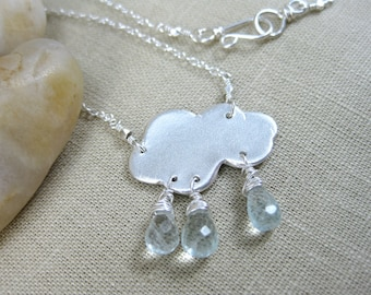 Rain Cloud Necklace Recycled Silver Raindrop Necklace PMC Aquamarine Sterling Silver Raindrop Jewelry Whimsical Necklace - Silver Lining