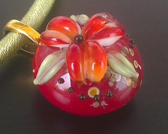 Cabochon, Lampwork flower + silk cord