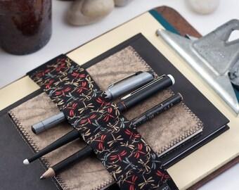 Journal Bandolier Large / Pencil case alternative / Dragonfly