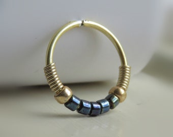 black nose hoop ring // tragus hoop // helix hoop earring