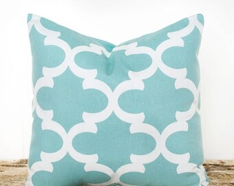 SALE ENDS SOON Teal Trellis Throw Pillow Cover, Teal Pillowcase, Teal and White, Modern Pillows, Cushion Covers, Fretwork Pillow Cover